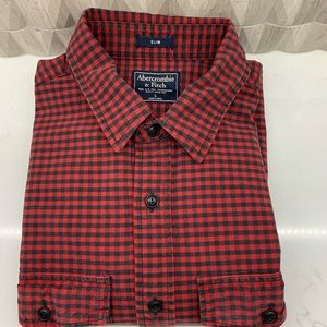 Abercrombie & Fitch red black checked shirt L slim